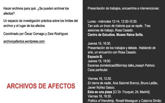 ARCHIVOS DE AFECTOS, Reina Sofía, Madrid, 12-18.06.14
